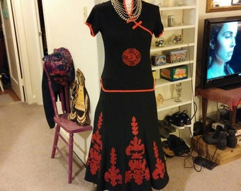 Skirt, Ethnic Inspired Skirt, Skirt Outfit, Skirt Ensemble, Asian Fusion Fashion, Skirt and Top, Women's Clothing, Black and Red Outfit