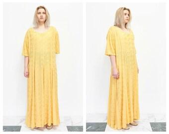 90s Oversize Embroidered Goldenrod Sundress /
