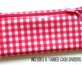 Pink gingham cash wallet with tab dividers for Dave Ramsey budget | wipeable laminated cotton