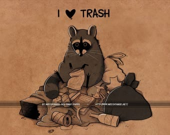 Raccon - I <3 Trash - A5 Print - Thick 350gsm