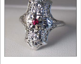 Antique Art Deco 18k Ruby Diamond Filigree Engagement Ring
