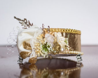 Gold Pillbox Hat - Vintage Style Hat - Christmas Accessory - Holiday Photos - M2M - Headband - Photo Prop - Holiday Costume