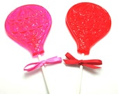 "10  Large HOT AIR BALLOON Lollipops with Matching Satin Ribbon on 6"" Stick - Baby Shower, Balloon Party Favors"