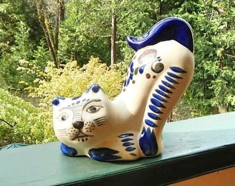Cat Stretching Vintage Ceramic Folkart Pottery Made In Mexico