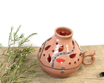 Ceramic Candle Keeper, Handmade Ceramic Lamp, Pottery Candle Holder, Ceramic Candle Holder, Candle Keeper