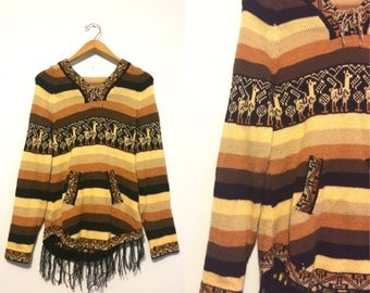 Vintage Alpaca Handwoven Fringe Sweater / South American Peru Ethnic Hooded Sweater / Tribal Boho Hippie Sweater
