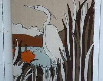 Vintage FABRIC Scene Panel HERON 1970s Picture