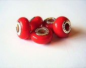 5 Opaque RED, Smooth Glass, 925 STAMPED, European Charm Bracelet, Beads, Euro, Big Hole, Tomato red, Slimline