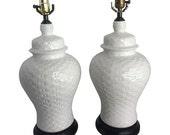 Ginger Jar Basketweave Lamps, Pair
