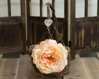 Rustic twig flower girl basket decorated with light peach rose personalized with bride and groom initials other flowers to select from