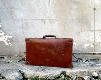 Large Antique Leather Suitcase - Perfect Shop Display & Use