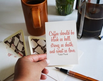 Coffee Lovers Card - Turkish Proverb Card with Coffee Mug Theme Lined Envelope - Single Blank Greeting Card