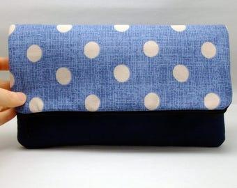 Foldover zipper clutch, zipper pouch, wedding purse, evening clutch, bridesmaid gifts set - Polka dots on blue  (Ref. FZ14)