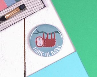 Cute Sloth Pocket Mirror / Make Up Mirror / Handbag Mirror / Children's Party Bag / Christmas Gift / Animal Illustration