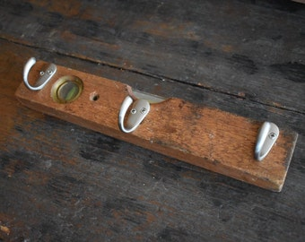 Vintage Wood Level Upcycled into Hanger with Hooks Perfect Organizer