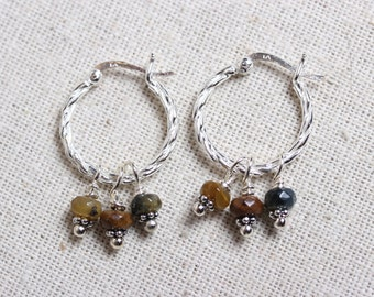 Sterling Silver Twisted Hoop Earrings with Removeable Pietersite Facet Cut Bead Dangles