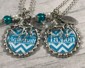 Best Friends Gift BUY/2/SAVE YoU ChOoSe ChArM, Personalized Chevron Necklace, Equestrian, BFF, Horse Necklace, Princess, Sister