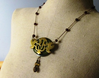 LONG LAYERING Vintage Rosary, Button and Escutcheon Necklace Jewelry:  Green Day Dangle