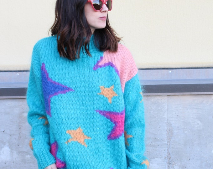 vintage star fuzzy colorful pullover sweater