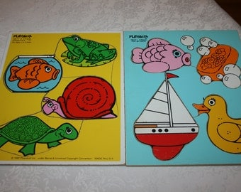 Two Vintage Playskool Jigsaw Puzzles Water Pals and For My Bath Ages 1-3 1982 Made in USA