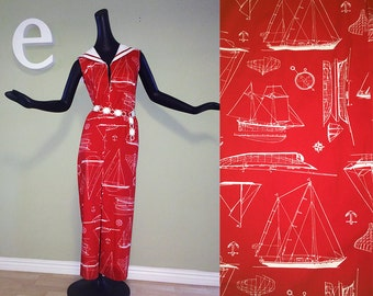 Vintage 70s 60s Nautical Maxi Dress 1970s 1960 Rockabilly Sailor Dress / Swimsuit Coverup Cover Up Red White Sailboat Boat Print Hippie Boho
