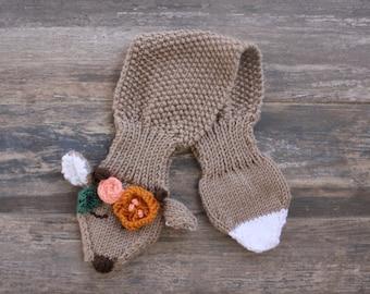 PDF Pattern, boho deer scarf pattern, boho toddler scarf, boho child's scarf, child's animal scarf, deer cowl, children's dear cowl pattern