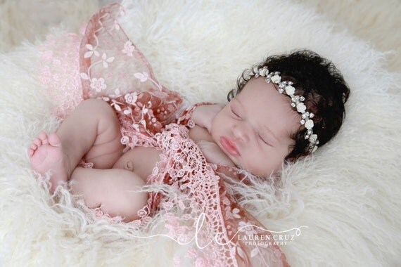 Lace Fringe Swaddle Wrap in Brick AND/OR Silver and White Rose Headband, newborn photo shoots, baby girl gift, by Lil Miss Sweet Pea