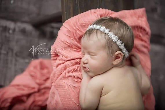 White sequin flower halo headband, bebe fotograf, perfect for all ages and newborn photoshoots by Lil Miss Sweet Pea