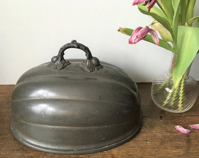 Antique pewter food dome, food cover, butlers server, 19th century