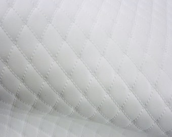 """Leather 12""""x12"""" WHITE QUILTED 1/2"""" Pattern Cow hide 2.25-2.75 oz / 0.9-1.1 mm PeggySueAlso™ E2911-03"""