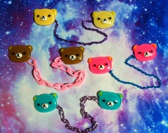 Kawaii Bear Sweater Chain, Fairy Kei, Pastel Goth, Collar Clip