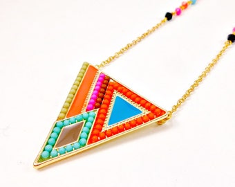 Geometric Necklace, Neon, Boho Necklace, Colorful Necklace, Bohemian, Tringle Pendant, Seed Bead Necklace, Rainbow, Crystal Necklace, Long