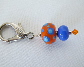 Blue and Orange Sewing Scissor Fob
