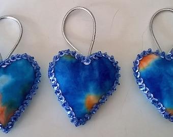 "Set of 3 Handmade Tie Dye Felt and Sequin Heart  Ornaments  2x2"" LIGHT BLUE"