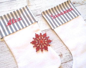 Personalized Christmas Stockings - Embroidered Cuff - Striped Stockings,Christmas Stocking,Stockings,Monogrammed,Personalized Stocking