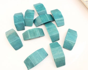 Turquoise dyed Wood Beads sliding large recycled Beads 11 pieces