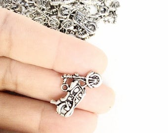 30pc motorcycle charms double sided antiqued silver color bulk destash wholesale