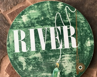 Personalized rustic fishing sign - boys room or nursery