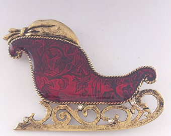 Santa's Sleigh Pin Christmas Brooch Red Enamel Sleigh Bag of Toys