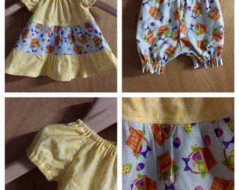 Infant Easter Dress and Bloomers, size 3 months