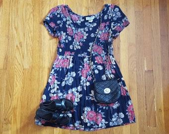 Vintage 1990's Babydoll Floral Grunge Dress La Belle, Size L