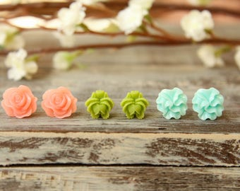 Flower Earring Studs Trio: Translucent Pink Scrunch Flower, Olive Green Rose Bud, Aquamarine Ruffle Flower
