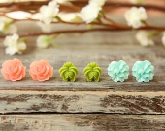 Flower Earring Studs Trio: Translucent Pink Scrunch Flower, Olive Green Rose Bud, Aquamarine Ruffle Flower
