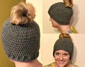 Crochet Messy Bun Hat, Ready To Ship, Black, Teal, Mint, Messy Bun Hat, Adult, Teen, Ponytail Hat, Winter Ponytail Beanie, Runner Ponytail