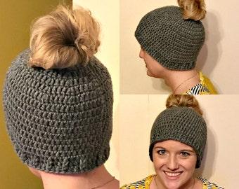 Crochet Messy Bun Hat, Ready To Ship, Black, Teal, Mint, Messy Bun Hat, Adult, Teen, Ponytail Hat, Winter Ponytail Beanie, Runner Ponytail