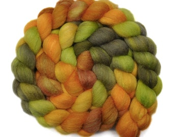 Handpainted roving - Silk / Polwarth 15/85% wool roving - 4.1 ounces - Bright Melodies