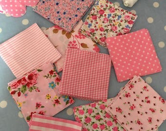 """40 x 4"""" pink  cotton fabric patchwork squares ,sewing,patchwork,quilt,quilt making,crafts,childrens crafts"""