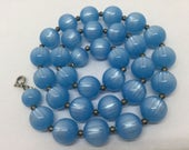 Blue Moonglow like Lucite Plastic Beaded Necklace