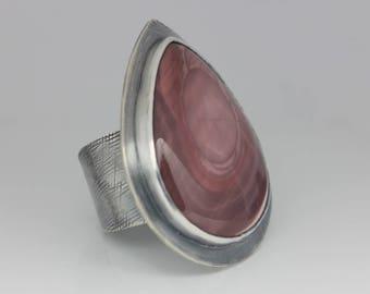 Imperial Jasper Ring, Jasper and Sterling, Mauve Imperial Jasper, Statement Ring, Unisex, Adjustable