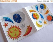 ON SALE A Pair of Vintage Sandylion Glitter Sun Moon and Shooting Star Sticker Mods - 80's Soleil Luna Celestial Scrapbook Collage
